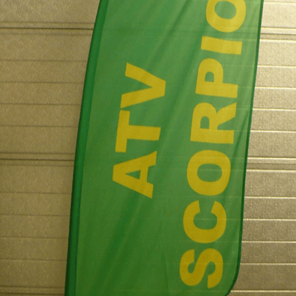 Textieldruk Beachflag ATV Scorpio Sport Print